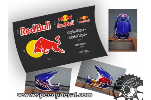 Adesivi Red Bull per casco Troy Lee Design
