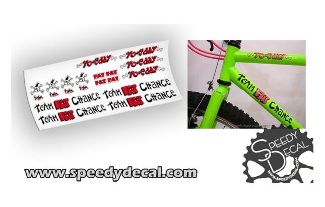 Team Fat Chance - fat city cycles - yo eddy adesivi personalizzati per telaio vintage
