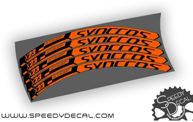 Stickers jantes v/élo SYNCROS XR RC 29 WH105 orange