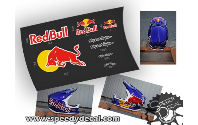 Kit adesivi Red Bull per casco Troy Lee Design
