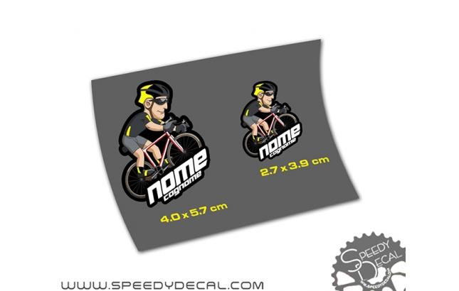 Adesivi con nome + logo ciclista