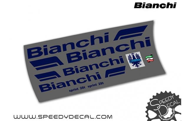 Bianchi Sprint 28t vintage anni 80's - kit adesivi telaio