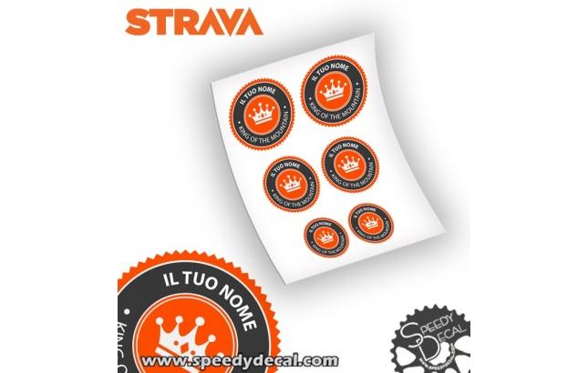 Strava king of the mountain - adesivi personalizzati con nome