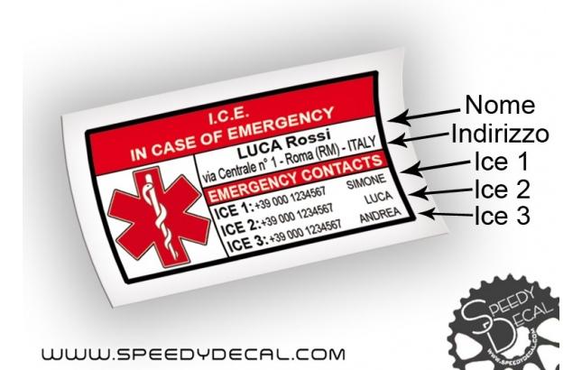 ICE (In Caso di Emergenza) - kit di adesivi per telaio/casco